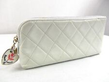 US seller Authentic CHANEL QUILTED LEATHER HEART CHARMS COSMETIC POUCH BAG good