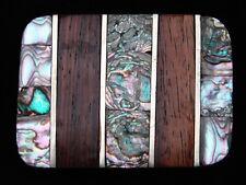 PJ11147 VINTAGE 1970s **WOOD & ABALONE SHELL** SOUTHWESTERN DESIGN BELT BUCKLE