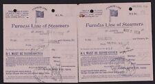 7 Diff 1934 Newfoundland Canada Steamships/Furness Line Ship Receipts
