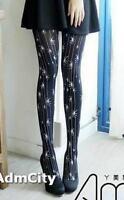 Admcity Spandex Pantyhose Tights with White Spider Print Black/White One Size