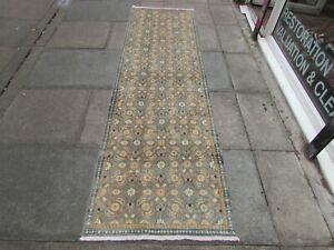 Vintage Hand Made Traditional Wool Faded Blue Grey Distressed Runner 290x80cm