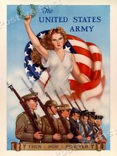 "1940 ""US Army - Then Now Forever"" Vintage Style WW2 Recruiting Poster - 18x24"