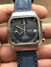 Vintage Yema Y10 Automatic Mens Chronograph Watch Valjoux 7754 35,7mm Chromed