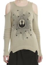 STAR WARS ROGUE ONE REBEL GIRLS COLD SHOULDER SWEATER Juniors LARGE NWT