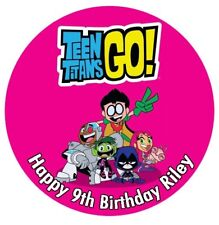 1 x Teen Titans 19cm round personalised cake topper edible image