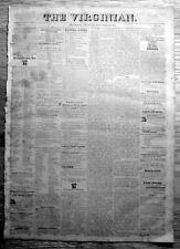Rare original 1825 LYNCHBURG Virginia newspaper 188 yrs old -36yrs pre CIVIL WAR