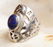 Silberring 57 Breit 2,5cm Lapis Lazuli Pyrit Verspielt Antik Om AUM Ring Silber