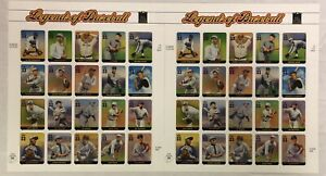 2 Sheets x 20=40 Legends of Baseball 33 Cents Commemorative Stamps-Ruth-Robinson