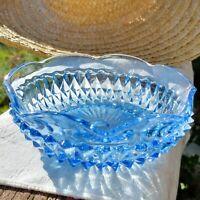"Vintage Indiana Glass Windsor Blue Diamond Point Nut Dessert Relish Bowl 5.5"""