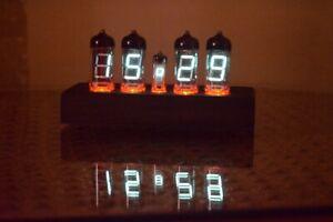 IV-11 FVD Fluorescent Tube Handmade Clock Fully Assembled Wooden Housing