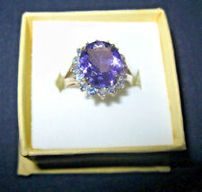 AMETHYST & TANZANITE RING SET IN STERLING SILVER SIZE 6 REDUCED PRICE