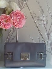 Michael Kors Astrid Grey Leather Clutch Silver Chain Shoulder Strap