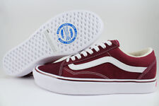VANS OLD SKOOL LITE PORT ROYALE BURGUNDY RED/WHITE LIGHTWEIGHT CLASSIC MEN WOMEN