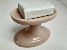 Fawn Beige Brown Ceramic Soap Dish Tray Holder Pedestal Vintage Porcelain Retro