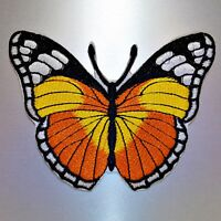 Boho Butterfly Patch — Iron On Badge Embroidered Motif — Orange Animal Applique
