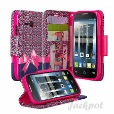 For Alcatel OneTouch Pixi Eclipse Hybrid Leather Wallet Pouch Case Flip Cover