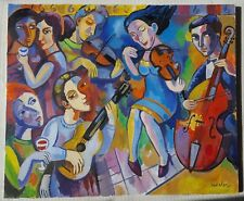 Samuel VEKSLER b1966 cubist original signed canvas oil painting 'Coffee concert'