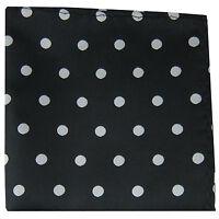 New men's polyester polka dot black silver dots hankie pocket square formal