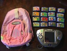 HUGE LOT! LeapFrog Leapster Learning Game System Gray/Blue - 12 Games & BackPack
