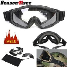 Tactical Airsoft 2 Lens Ballistic Windproof Goggle Glasses for Helmet Paintball