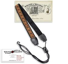 Walker & Williams UK-21 Orange & Black Woven Cotton Adjustable Ukulele Strap