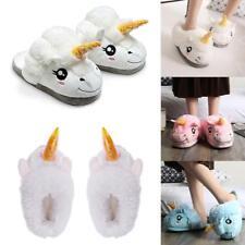 Unisex Slip On Unicorn Slippers Lovely Soft Plush Fluffy Winter Indoor Shoes