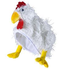 CHICKEN HAT NOVELTY FLUFFY WHITE EASTER DELUXE BIRD HEN FANCY DRESS