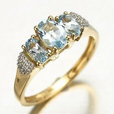 Women's Size 7 Princess Cut Aquamarine Sapphire 10K Gold Filled Bridal Ring Gift