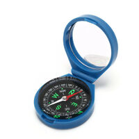 Blue Portable Flip cover Outdoor Hiking Plastic Compass For Camping Survival HU