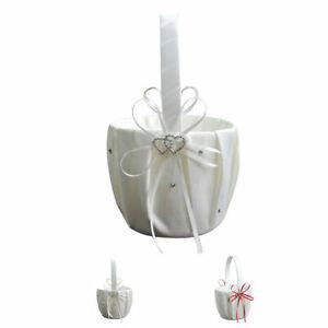 Satin Bowknot Diamante Pearl Flower Girl Basket Wedding Ceremony Party Decor