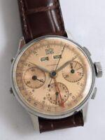 Leonidas - pre-Heuer Dato-Compax Valjoux 72C triple calendar rare copper dial
