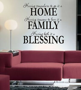 Home Family Blessing Wall Art Sticker Quote Living Room / Hallway / Kitchen -071