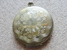 Vintage ZELL 5th Ave Brass Art Deco Powder Make Up Box Compact Pocket Watch styl