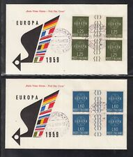B 02 ) Italy Europe Cept 1959 2 fantastic  FDC - sheet with decorative feathers