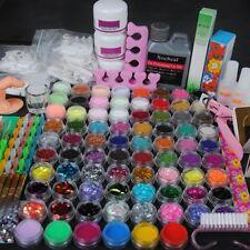 78 Nail Art Set Acrylic Liquid Glitter Powder File Brush Tips Tools DIY Kit Tool