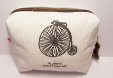 In Paris Penny-farthing Bike Design Canvas Coin Purse Small Mini Zipper Wallet