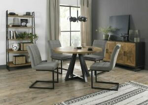 Lowry Rustic Oak 4 Seater Dining Table with Peppercorn Legs & 4 Lewis Grey Velve