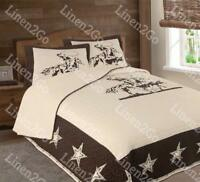 Texas Rustic Rodeo Cowboy Star Western Quilt Bedspread Comforter Shams 3Pc  Set