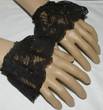 Mens Victorian,  Georgian, steampunk black  lace cuffs fancy dress costume