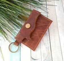 Handmade waxed tan brown genuine leather holder wallet Keychain