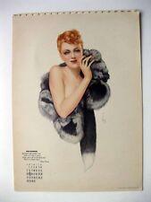 December 1941 Varga Pin Up Girl Calendar Glamourous Red Head in Fur