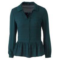 'V' by Very Women Green Chiffon Blouse ladies Frill V Neck Top Shirt Size 12-24