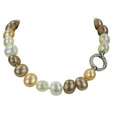 Bronze Faux Pearl Choker Necklace Striking Large White Gold and