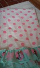 Vintage Pacific Disney Minnie Mouse 1980s Twin Sheet Set Pink Polka Dots Ruffled