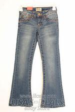 New Girls MUDD Flare Denim Pants Adjustable Waist Blue Jeans Medium Wash 10S