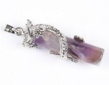 Anhänger Drache Fabelwesen Amethyst lila violett versilbert.