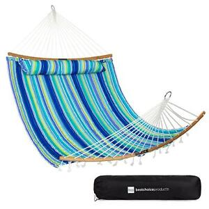 2 Person Quilted Portable Hammock With Curved Bamboo Spreader Bar And Carry Bag