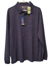 Haggar Clothing Men's Quick Dry Performance Long Sleeve Polo Shirt Size L NWT
