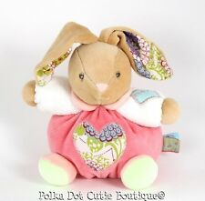 """Kaloo Tan Bliss Bunny Rabbit Lovey Rattle with Floral Heart Plush Toy 7"""""""