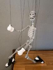 Marionette carved/ marionette on string handmade-dancing Skeleton-moves  mouth